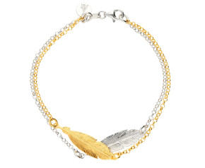 Sterling Silver & Yellow Gold Plated Double Feather Bracelet