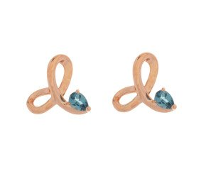 9ct Rose Gold London Topaz Fancy Stud Earrings