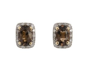 9ct Yellow Gold Smoky Quartz & Diamond Cluster Earrings