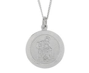 9ct White Gold Small St Christopher Pendant
