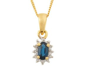 9ct Yellow Gold 0.35ct Sapphire & Diamond Cluster Pendant