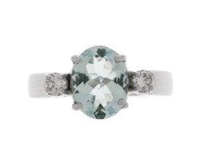 Pre-Owned 1.34ct Aquamarine & Diamond Ring