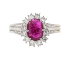 Pre-Owned 0.75ct Ruby & Diamond Cluster Ring