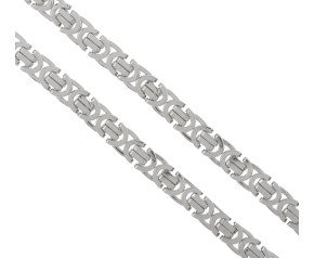 Men's 9ct White Gold 6.9mm Byzantine Chain