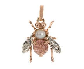 Handcrafted Italian Pearl & Rose Quartz Bee Pendant