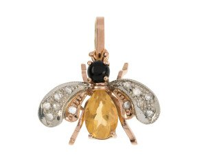 Handcrafted Italian 0.50ct Topaz, Onyx & Diamond Bee Pendant