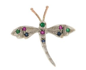 Handcrafted Italian Emerald Ruby & Sapphire Dragonfly Brooch