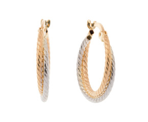 9ct Yellow & White Gold Twisted Rope Hoop Earrings
