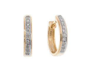 9ct Yellow Gold 0.10ct Diamond Hoop Earrings