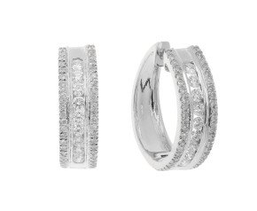 18ct White Gold 0.62ct Diamond Hoop Earrings