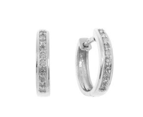 9ct White Gold 0.10ct Diamond Hoop Earrings