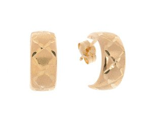 9ct Yellow Gold Diamond Cut Half Hoop Earrings
