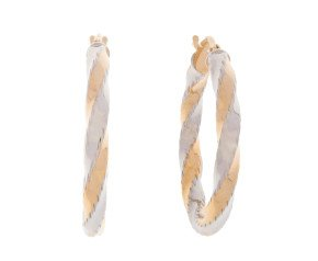 9ct Yellow & White Gold Twisted Creole Earrings