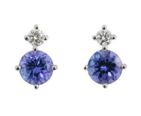 9ct White Gold 0.60ct Tanzanite & 0.15ct Diamond Stud Earrings