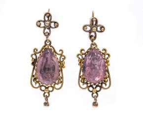 Antique 15ct Gold Foil Back Rock Crystal Earrings