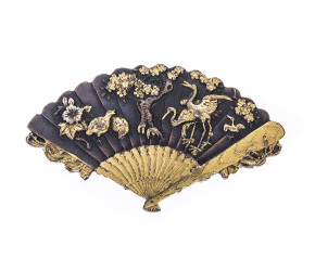 Antique Japanese Shakudo fan Brooch