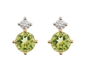 9ct Yellow Gold 0.50ct Peridot & 0.15ct Diamond Stud Earrings