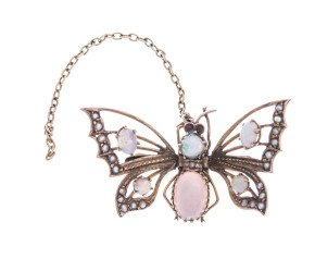 Antique 9ct Yellow Gold Opal & Split Pearl Butterfly brooch