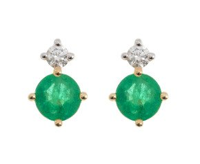 9ct Yellow Gold 0.30ct Emerald & 0.15ct Diamond Stud Earrings