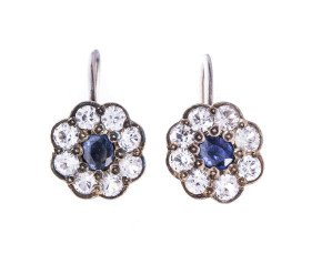 Vintage Sapphire & Colourless Paste Cluster Drop Clip-on Earrings