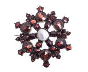 Antique Victorian Garnet & Pearl star brooch
