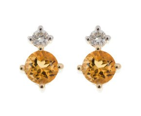 9ct Yellow Gold 0.40ct Citrine & 0.15ct Diamond Stud Earrings