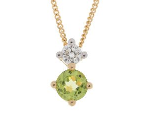 9ct Yellow Gold 0.25ct Peridot & Diamond Pendant