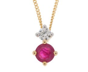 9ct Yellow Gold 0.30ct Ruby & Diamond Pendant