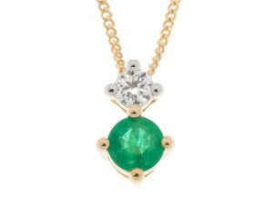 9ct Yellow Gold 0.15ct Emerald & Diamond Pendant