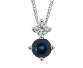 9ct White Gold 0.30ct Sapphire & Diamond Pendant