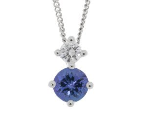 9ct White Gold 0.30ct Tanzanite & Diamond Pendant