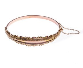 Antique Late Victorian 9ct Yellow Gold Hinged Bangle