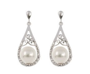 9ct White Gold 6.5mm Cultured Pearl & Diamond Earrings