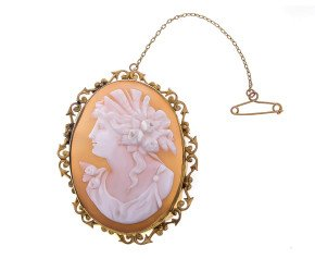 Vintage 9ct Yellow Gold Demeter Cameo Brooch