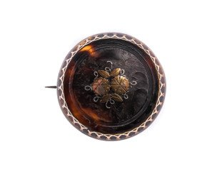 Antique Victorian Tortoiseshell Pique Brooch