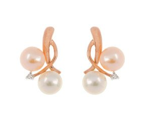 9ct Rose Gold Cultured Pearl & Diamond Earrings