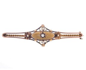 Antique 15ct Yellow Gold Diamond Brooch