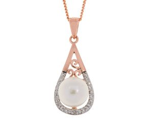 9ct Rose Gold 7mm Cultured Pearl & Diamond Pendant