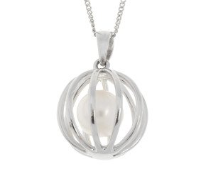 9ct White Gold Floating Cultured Pearl Pendant
