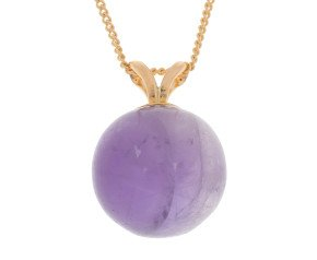 9ct Yellow Gold Amethyst Ball Pendant