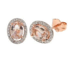 9ct Rose Gold 6mm Morganite & Diamond Cluster Oval Shape Stud Earrings