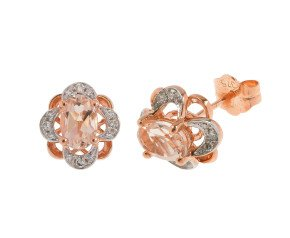 9ct Rose Gold 0.80ct Morganite & Diamond Floral Cluster Earrings