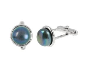 Sterling Silver Cultured Black Pearl Cufflinks