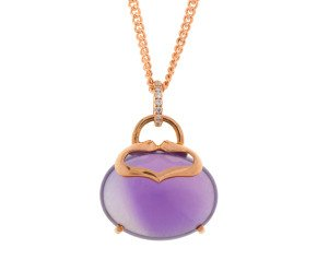 18ct Rose Gold Amethyst & Diamond Pendant