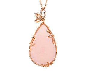 18ct Rose Gold Rose Quartz & 0.40ct Diamond Pendant