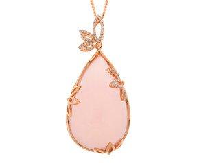 18ct Rose Gold Rose Quartz & 0.40ct Diamond Pendant