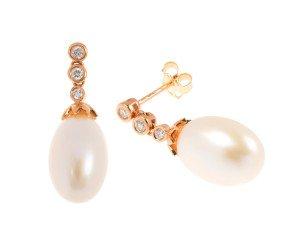18ct Rose Gold Cultured Pearl & Diamond Drop Earrings