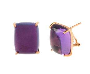 18ct Rose Gold Rectangular Amethsyt Solitaire Stud Earrings