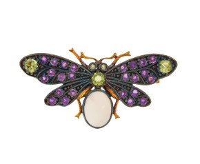Peridot, Amethyst & Diamond Bee Brooch
