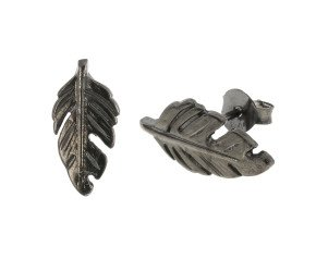 Black Rhodium Vermeil Feather Studs